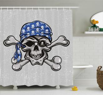 Pirate Evil Head Bones Shower Curtain