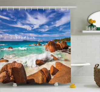 Rocky Coast Seychelles Shower Curtain