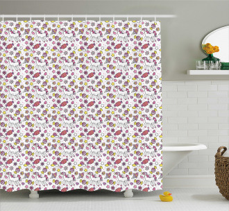 Cute Unicorn Candies Stars Shower Curtain
