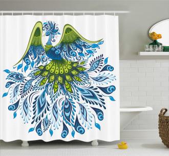 Abstract Bird Figure Shower Curtain