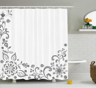 Botanical Sketchy Bouquet Shower Curtain