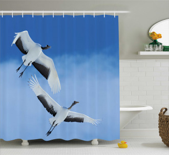 Red Crowned Cranes Japan Shower Curtain