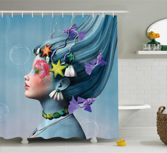 Woman Oceanic Hairstyle Shower Curtain