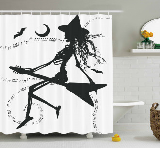 Witch on Guitar Shower Curtain