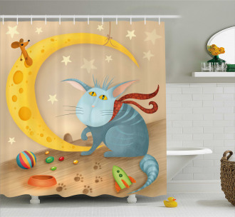 Cat Mouse Crescent Moon Shower Curtain