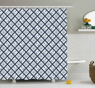 Anchor Windrose Icons Shower Curtain