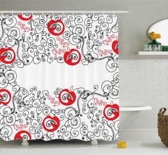 Sketchy Birds Swirls Shower Curtain