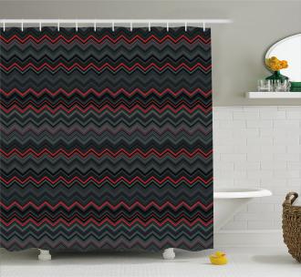 Zigzag Chevron Layers Shower Curtain
