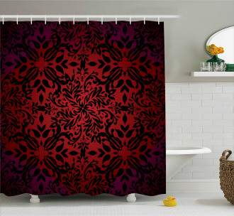 Orient Flowers Leaves Shower Curtain
