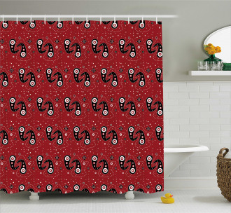 Paisley Flowers Dots Shower Curtain