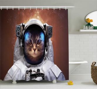 Kitten in Milkyway Shower Curtain
