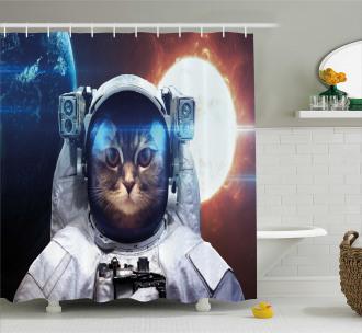 Kitty in Galaxy Dust Shower Curtain