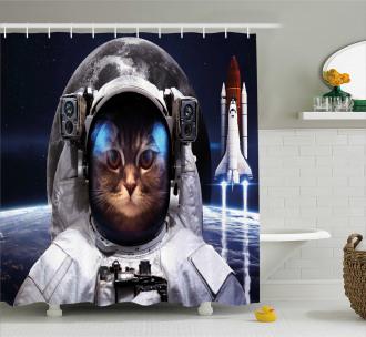 Space raveller Pet Shower Curtain