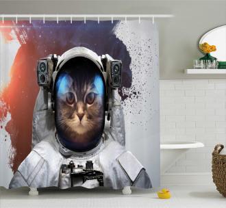 Grunge Cosmonaut Suit Shower Curtain