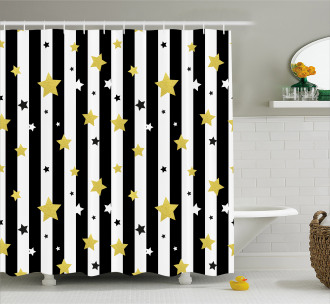 Vertical Lines Stars Shower Curtain