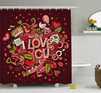Funky Hearts Arrows Shower Curtain