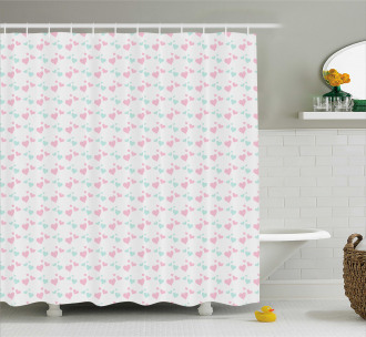 Romantic Cartoon Hearts Shower Curtain