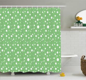 Big Dots Green Backdrop Shower Curtain
