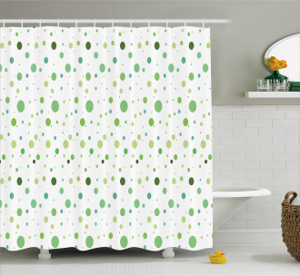Green Toned Polka Dots Shower Curtain