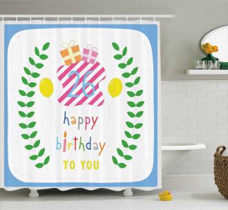Cute Striped Present Shower Curtain