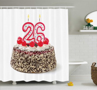 Yummy Cake Candles Shower Curtain