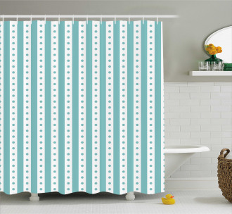 Retro Dots and Stripes Shower Curtain
