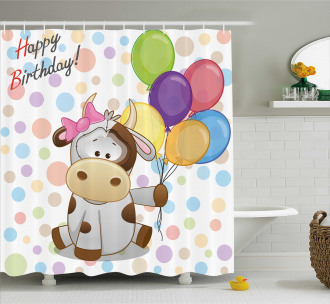 Baby Cow and Balloons Shower Curtain