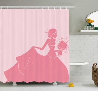 Pink Wedding Dress Shower Curtain