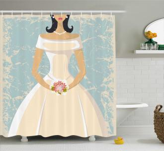 Sketch Bride Dress Shower Curtain