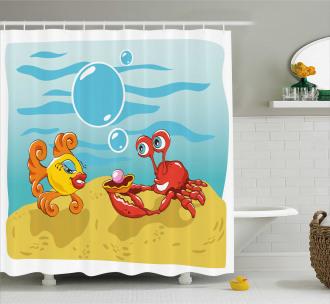 Fish Crab Cartoon Shower Curtain