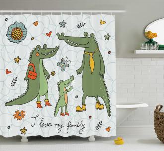 Alligator Family Cartoon Shower Curtain