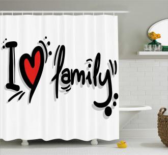 I Heart Family Pictogram Shower Curtain