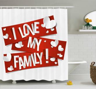 Family Love Heart Shower Curtain