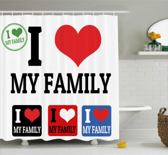 Family Signs and Labels Shower Curtain