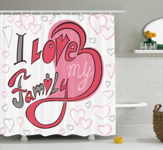 I Love Family Hearts Swirl Shower Curtain
