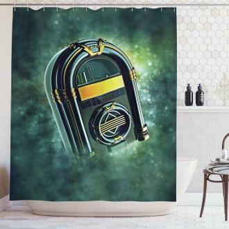 Grunge Antique Radio Shower Curtain