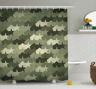 Mosaic Grunge Camo Worn Shower Curtain
