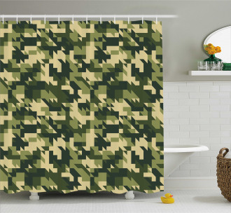 Abstract Chevron Forest Shower Curtain