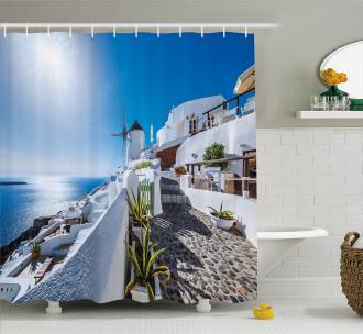 Oia Village in Santorini Shower Curtain