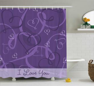 Indigo Purple Hearts Shower Curtain