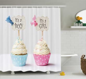 Boy Girl Cupcakes Shower Curtain