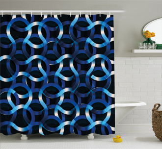 Curvy Modern Shapes Shower Curtain