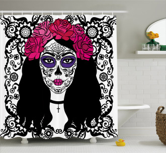 Girl with Make Up Shower Curtain
