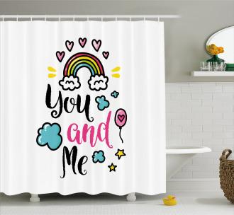 Rainbow Romance Shower Curtain