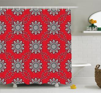 Swirls Floral Mesh Shower Curtain