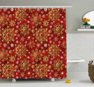 Xmas Flora Ornament Shower Curtain
