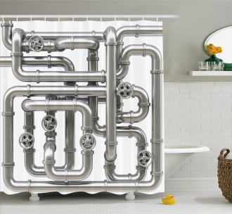 Maze of Pipes Shower Curtain