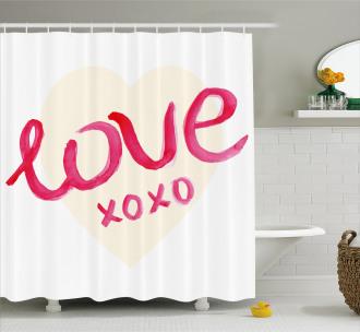 Heart Figure Letters Love Shower Curtain