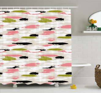 Thick Brushstrokes Stripes Shower Curtain