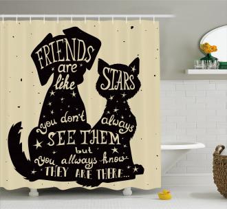Cat Dog Friends Shower Curtain